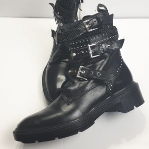 ZARA Leather Moto Embellished Zip Ankle Boot Black